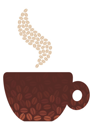 Coffee cup with the image of coffee beans Illustration