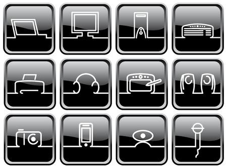 technics: Black brilliant buttons. Symbols of computer technics
