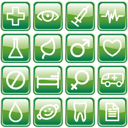 medical symbols: Buttons with medical symbols