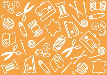 textile machine: Sewing and needlework background Illustration