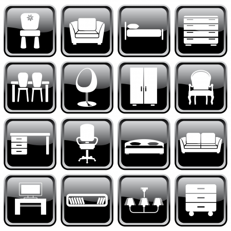 interior lighting: Set of furniture icons