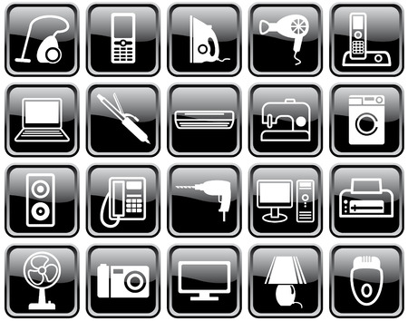 telly: Set of icons of home appliances Illustration