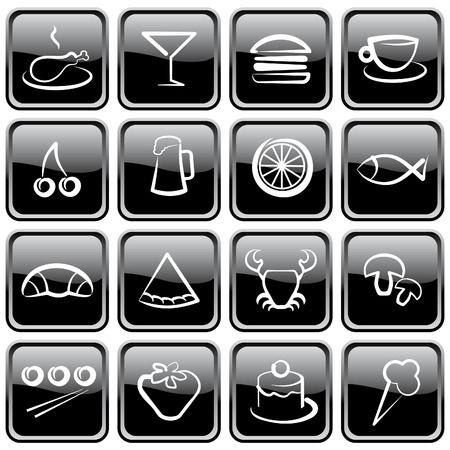 Black brilliant buttons. Food icons Vector