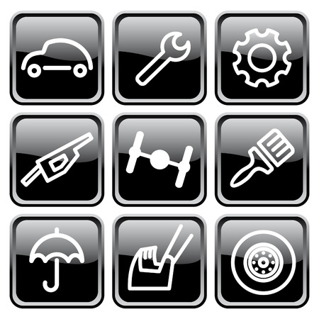 auto mechanic: Cars spare parts and service icons