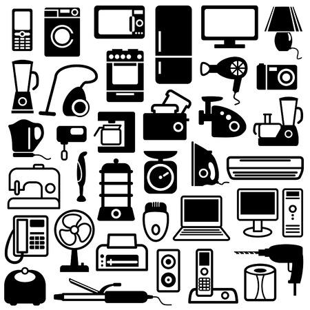 Pictogrammen van huishoudelijke apparaten  Vector Illustratie