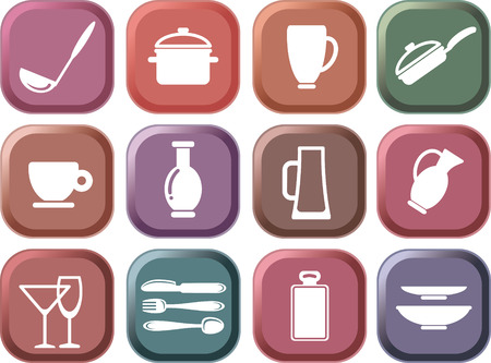 skillet: Icons of kitchen ware. Multi-coloured buttons Illustration