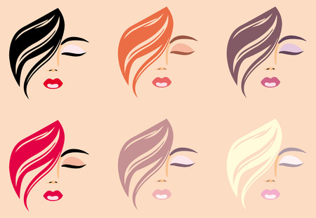 Woman's faces with hair of different colour Stock Vector - 6636361
