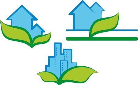 logos negocios: S�mbolo ecol�gico de la casa