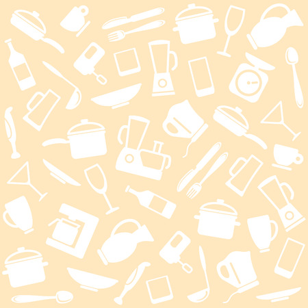 ware: Ware and home appliances for kitchen. Background Illustration
