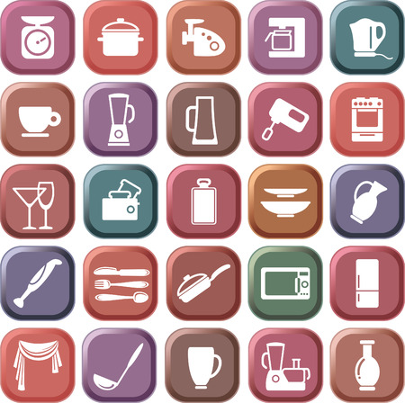 Buttons with the image of kitchen symbols Stock Vector - 6636443