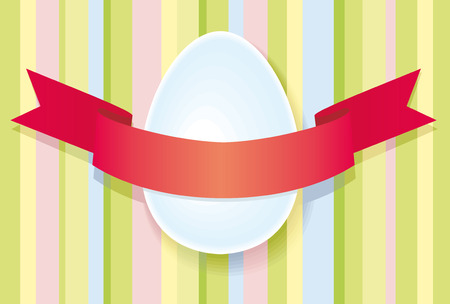 Easter egg and red tape on a striped background Stock Vector - 6636372