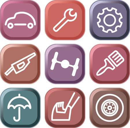 Cars spare parts and service icons Stock Vector - 6636411