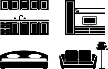 Furniture for kitchen, a drawing room and a bedroom Vector