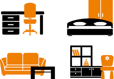 Icon set - home furniture items Stock Vector - 6636350
