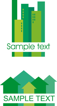 Green building icons Illustration