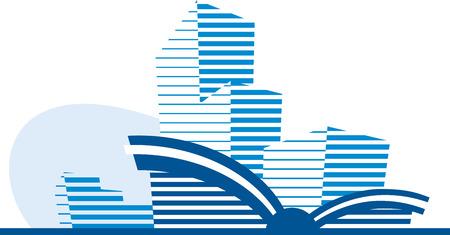 Blue building icon Illustration