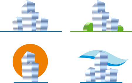Set of four building icons Stock Vector - 6636357