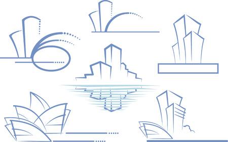 Collectie iconen van onroerend goed  Vector Illustratie