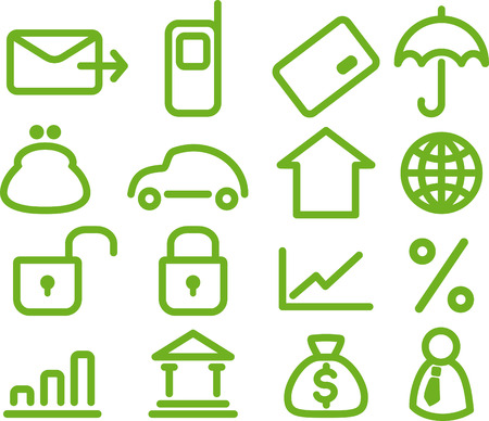 Finance and Banking icons set Vector