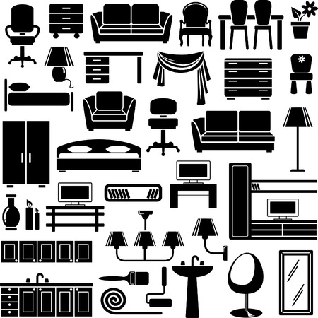 Furniture end lighting icons set Vector