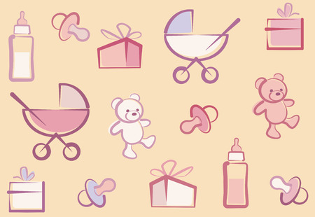 Seamless Baby Background Pattern Stock Vector - 6636371