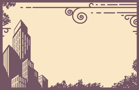 Silhouetted city overlaying a beige retro background  Vector