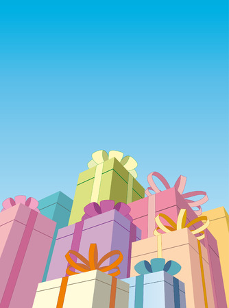 Gift boxes on a blue background Stock Vector - 6636383