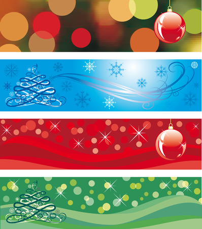 christmas backgrounds: Four christmas banner. Winter  backgrounds Illustration