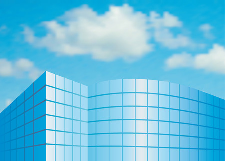 Facade from glass against the sky Vector