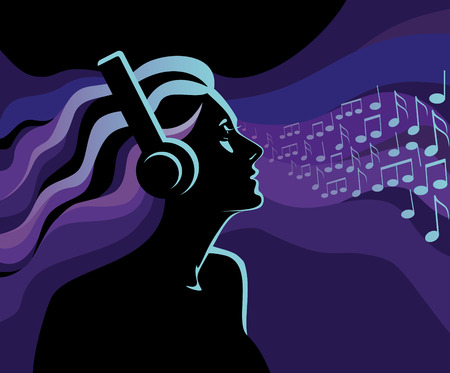 Women listening to music Vector