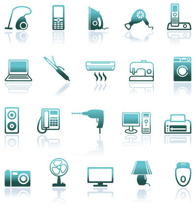 electricals: Set icons of home appliances Illustration