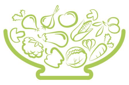 баклажан: Тарелка с овощами Иллюстрация