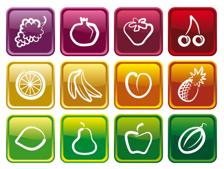 Buttons with images of fruit Vector