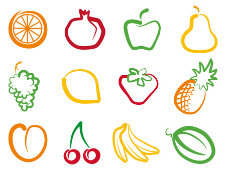 citrus fruits: Set of simple images fruit