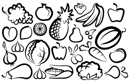 Simple images of vegetables and fruit Stock Vector - 6793612