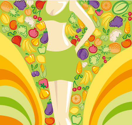 harmonous: Harmonous female figure on a bright background with images of vegetables and fruit