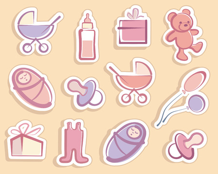 Stickers with childrens symbols Vector
