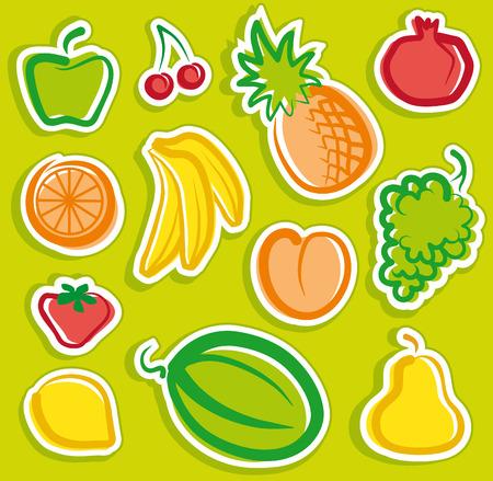 Fruit stickers Vector