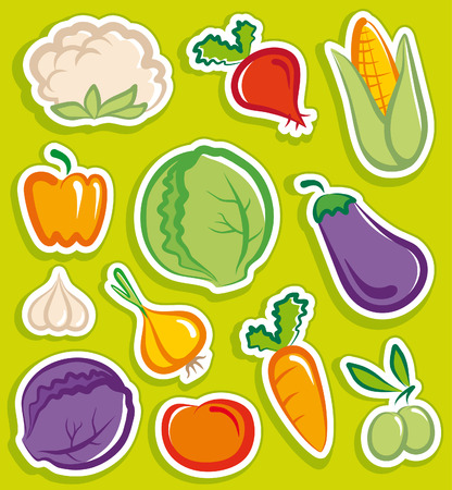 Vegetables stickers Vector