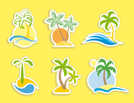 Tropical stickers Vector