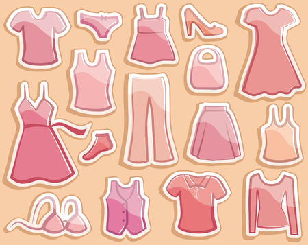 Shining stickers with ladys wear images Vector