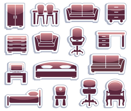 sofa furniture: Set of furniture icons