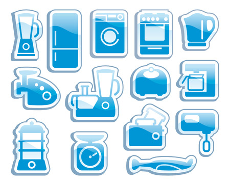 black appliances: Set of blue icons kitchen home appliances