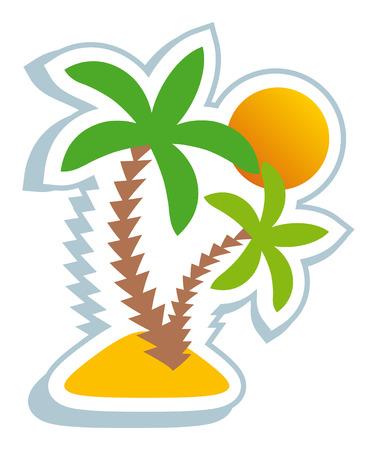 sunset palm trees: Tropical symbol Illustration