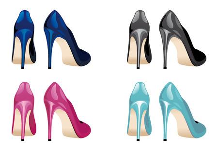 high fashion model: Limpiando zapatos femeninos