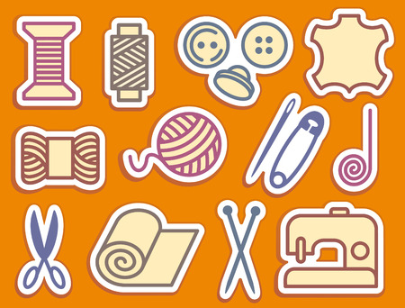 sewing machine: Sewing and needlework icons Illustration