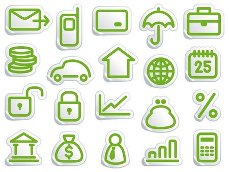 Stickers with financial and bank symbols Stock Vector - 7075213