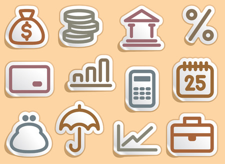 Finance and Banking icons set Stock Vector - 7116471