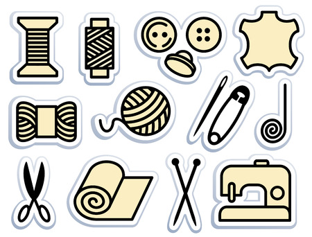 Sewing and needlework icons 向量圖像