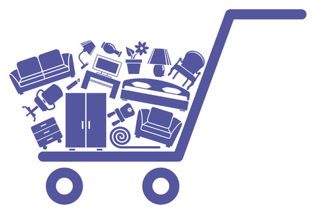 The cart with furniture Vector